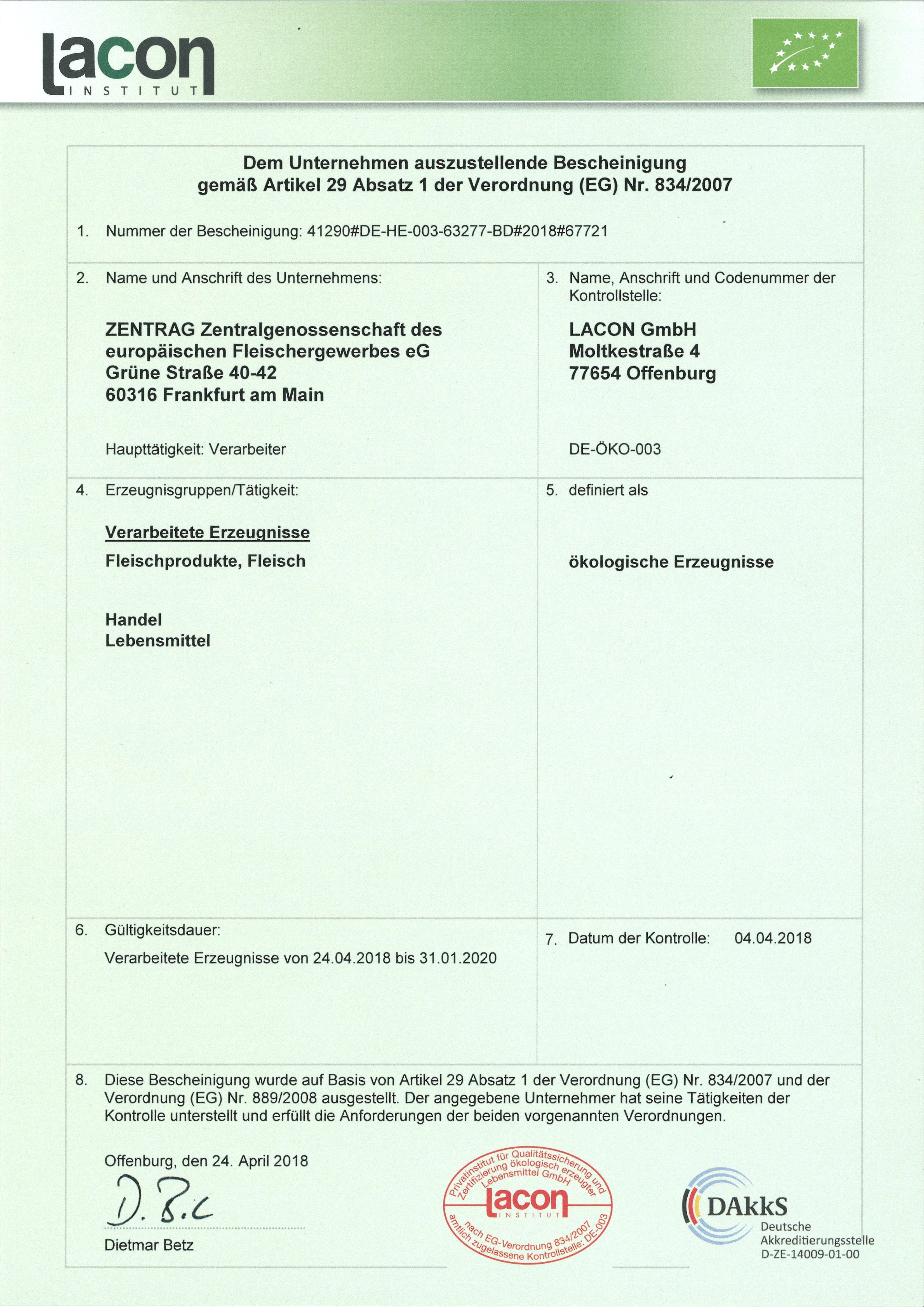 Certifications Zentrag